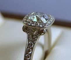 Cushion Cut Diamond Halo Engagement Ring Detail