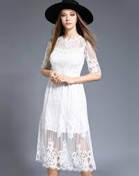 white half sleeve sheer cut out lace midi dress lace midi dress