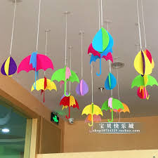 Korean Creative Hanging Decoration Kindergarten Classroom Hallway Decorations Mall Store Window Three Dimensional Umbrella Rain
