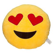 Amazon EvZ 32cm Emoji Smiley Emoticon Yellow Round Cushion