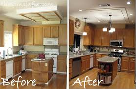Before Fluorescent Boxed Light Fixture After Energy Efficient LED 3 Inch Can Lights And ChandeliersRemoving The Definitely Makes Space Feel