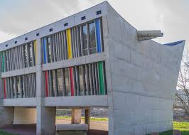 le corbusier s maison de la culture features asymmetric roof