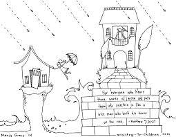 Printable Coloring Sheet For Matthew 724 House Upon Rock