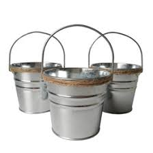 D105H95CM Mini Small Rustic Metal Garden Meat Plant Pot Tin Box Iron Pots Silvery Planter Wedding Bucket