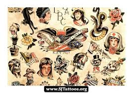 Vintage Sailor Jerry Tattoos Sheet