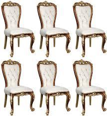 casa padrino luxus barock esszimmer stuhl set weiß gold braun gold 57 x 54 x h 115 cm edles küchen stühle 6er set im barockstil barock