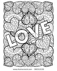 Hearts With Love In Doodle Zentangle Style Adult Coloring Page Words