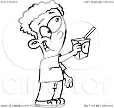 Cartoon Clipart A Black And White Boy fering to a Juice Box Vector Outlined Coloring Page by toonaday