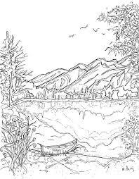 Serenity Jasper Landscape Printable Coloring Page Canoe Mountain Lake Instant Download Original Ink Pen Drawing By Aeris Osborne