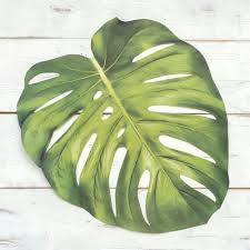 paper monstera leaf placemats tropical wedding ideas