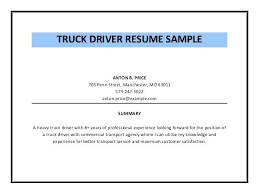 Truck Driver Resume Template Sample Elegant Ambulance Free