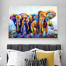 reliabli leinwand malerei bunte abstrakte baby elefanten bilder tier wand kunst für wohnzimmer dekoration poster und drucke