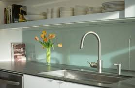 painted glass backsplash kitchen midcentury with green building