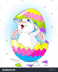 Easter Bunny Jumping Out Broken Egg Stock Vector
