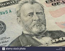 Ulysses S Grant Face On US Fifty Or 50 Dollars Bill Macro United States Money Closeup