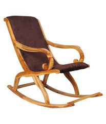 Teakwood Rocking Chair In Natural Finish With Brown Cushion By  Confortofurnishing