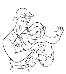 Curious George With Ted Coloring Pages For Kids Printable Free