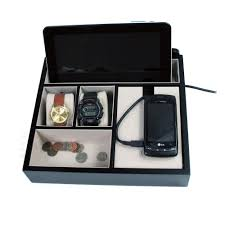 Dresser Valet Watch Box by Mens Black Wood Valet Jewelry Box Cellphone Iphone Tablet