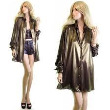 KRIZIA Gold Vintage 70s Dress Blouse Disco Lame Bronze Metallic