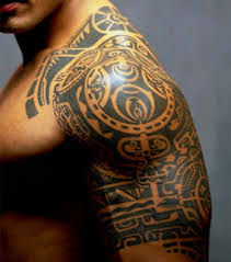 Big Cool Mayan Calendar Half Sleeve Tattoo Design Photo 2
