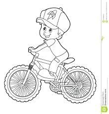 Printable Bike Safety Coloring Pages Cartoon Kid Riding Bicycle Page Stock Illustration Helmet Full Size