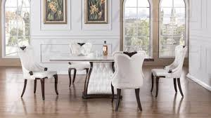 American Eagle Furniture DT H86 Ivory Marble Top Dining Table White