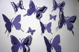 20 Violet Purple Print 3D Card Paper Butterflies Wall Art Interior Decor