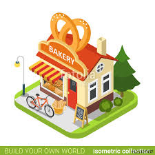 Bakery shop pretzels shape building cafe restaurant realty real estate concept Flat 3d isometry isometric