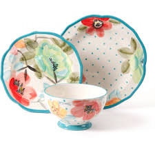 Bath Gift Sets At Walmart by The Pioneer Woman Vintage Bloom 12 Piece Decorated Dinnerware Set