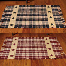 Primitive Farmhouse Star Country Cotton Woven Rug Burgundy Or Black And Tan