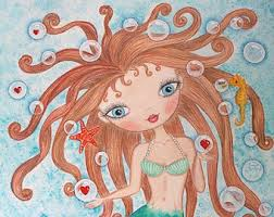 Little Mermaid Bath Decor by Art Print Watercolor Painting Girls Room Art