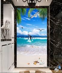 Wall Mural Decals Beach by 3d Tropical Island Beach Dophin Corridor Entrance Wall Mural