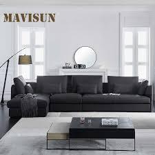moderne leder ecke sofa chaise sets für wohnzimmer schwarz