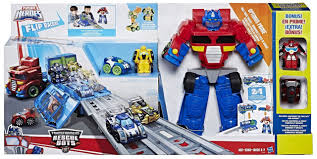 100 Rescue Bots Fire Truck Transformers Playskool Heroes Optimus Prime Race Track