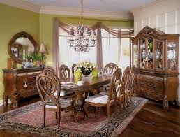 Captivating Centerpiece Under Glorious Antique Dining Room