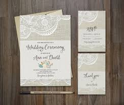 Wedding Invitation Stationery Sets Rectangle Potrait Grey Lace Flower Pattern Black Formal Wording Rustic Diy Printable