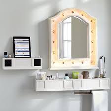 wall mounted light up mirror shelves speaker shelves and