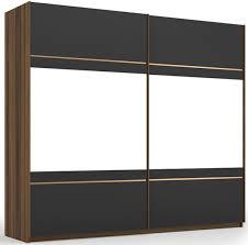 casa padrino luxus schlafzimmerschrank braun grau messingfarben 254 x 68 x h 230 cm edler massivholz kleiderschrank mit 2 verspiegelten