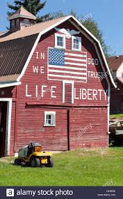 Red Barn With Painted US Flag And Life And Liberty Washington USA ... Red Barn Washington Landscape Pictures Pinterest Barns Original Boeing Airplane Company Building Museum The The Manufacturing Plant Exterior Of A Red Barn In Palouse Farmland Spring Uniontown Ewan Area Usa Stock Photo Royalty And White Fence State Seattle Flight Interior Hip Roof Rural Pasture Land White Fence On Olympic Pensinula