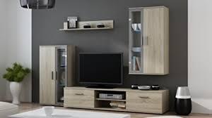 bmf wohnwand mit led regalen stehend zum aufhängen cabintes tv ständer sonoma oak grey
