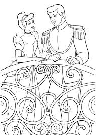 Cinderella And Prince Charming Coloring Pages Printable Kids