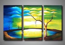 100 Handmade Modern 3 Panel Wall Art Canvas Natural Scenery