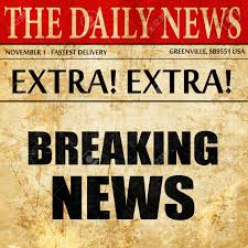 Breaking News Newspaper Article Text Stock Photo