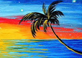Paintings Of Palm Trees Abstract Tropical Tree Painting Goode Madart