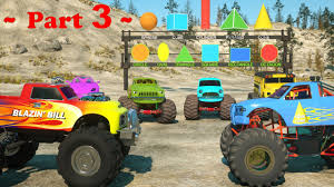 100 Monster Trucks Videos 2013 Learn Shapes And Race TOYS Part 3 For
