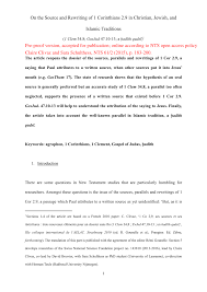 PDF On The Source And Rewriting Of 1 Corinthians 29 In Christian