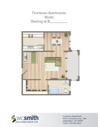Efficiency Floor Plans Colors Studio Efficiency Floorplan For Rent The Frontenac Apartments In