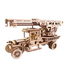 100 Model Fire Trucks UGears Truck With Ladder Model Kit Mechanical 3D Puzzle