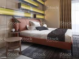 moderne lederbett mit nachttische mit len im modernen schlafzimmer beleuchtete regale glänzend wandpaneele lederkopfteil stockfoto und mehr bilder