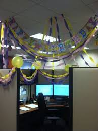 our office birthday tradition is to decorate cubicles to reflect